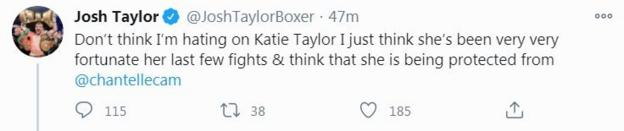 Unified super-lightweight world champion Josh Taylor believes Chantelle Cameron could beat Katie Taylor