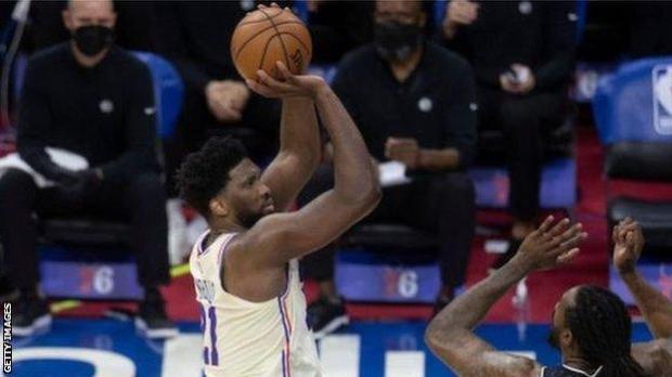 Joel Embiid shoots against the Brooklyn Nets earlier in the week