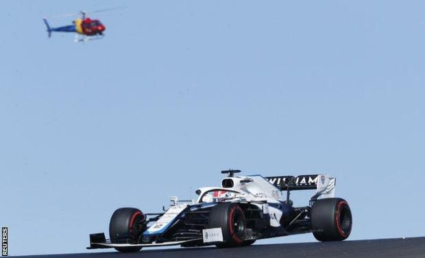 George Russell on track in the Williams