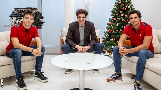 Charles Leclerc, Mattia Binotto en Carlos Sainz