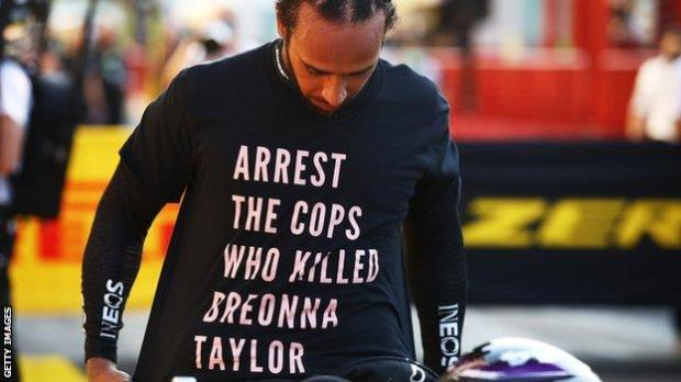 """Lewis Hamilton wearing a T-shirt before the Tuscan Grand Prix bearing the message: """"Arrest the cops who killed Breonna Taylor"""""""