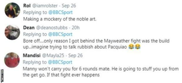 "Boxing fans on Twitter react to news that Conor McGregor could fight Manny Pacquiao next, with one fan telling McGregor that ""Manny won't carry you for 6 rounds mate"""