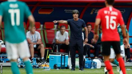 Joachim Low signals to his players in Germany's defeat to South Korea