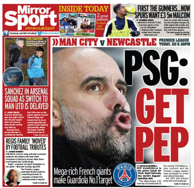 Daily Mirror back page on Saturday