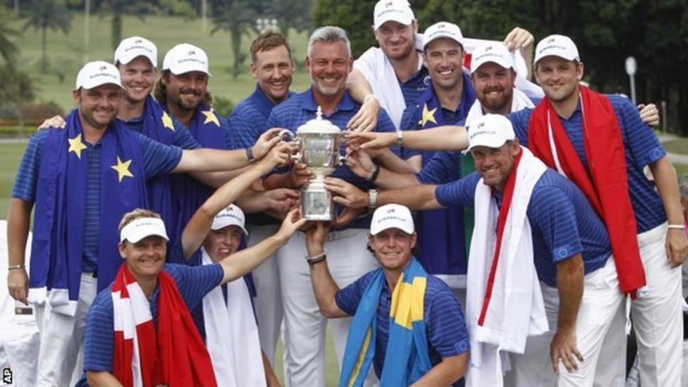 The victorious European team at the EurAsia Cup