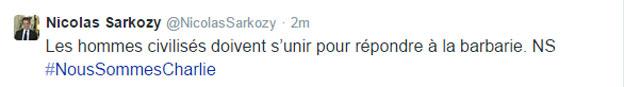 Tuit de Nicolás Sarkozy