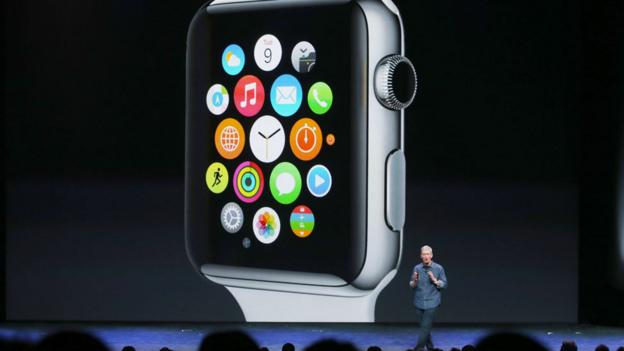 Apple CEO Tim Cook talks about the new Apple Watch. (Justin Sullivan/Getty Images)