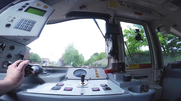 The rare view from the front of a Tube train's cab