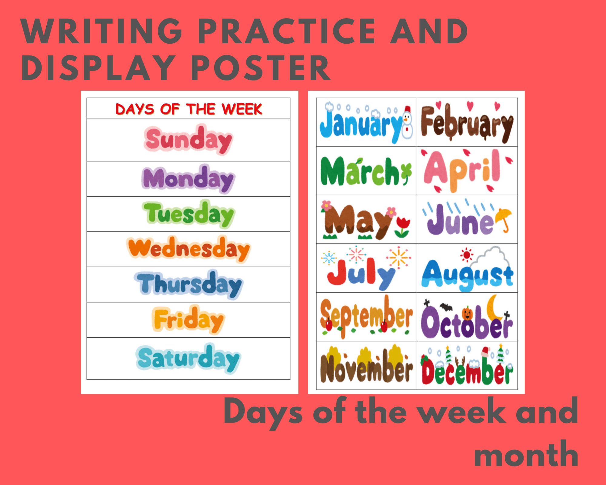 Writing Practice Worksheet Month And Days Of The Week