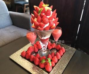 苺50粒の【メガ盛りパフェ】千鳥町「ザ・リビング」で武笠農園 いちごパフェ「ロシアンイチゴ」