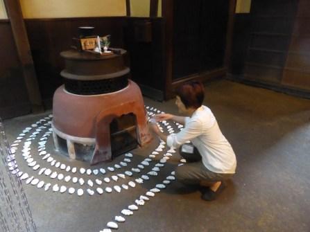 Tsushima 'artscape' - Yuko with one of her exhibits