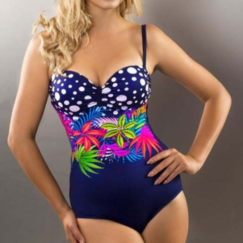 Sexy One-piece Large Size Swimwear With Push Up Women Plus Size Swimsuit Closed Body Female Bathing Suit For Pool Beach Wear Clothing Underwear & Exotic Apparel