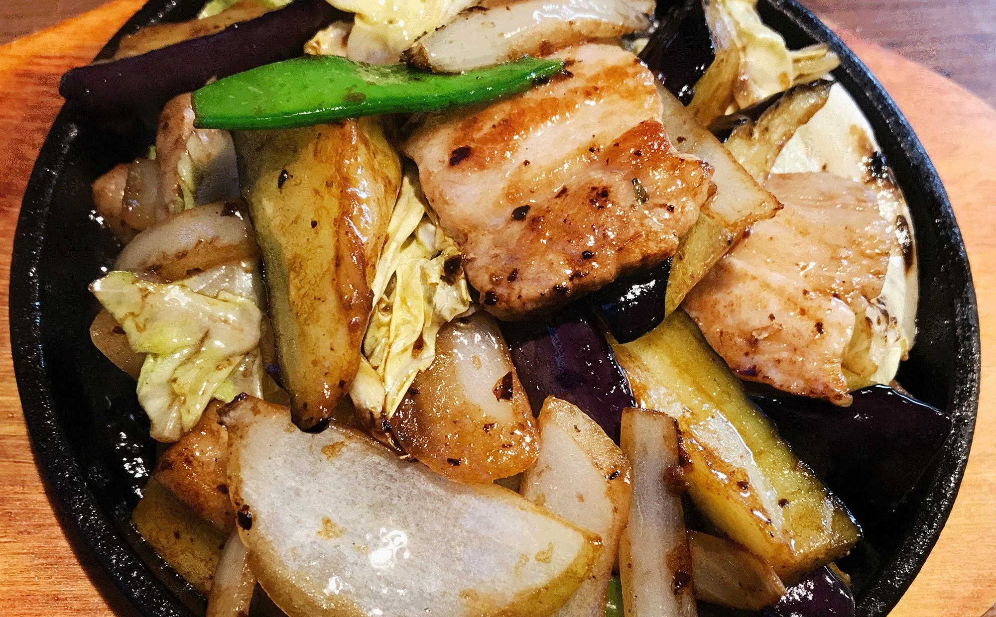 豚肉とナスとキャベツの辛子味噌炒め