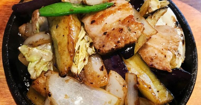 豚肉とナスとキャベツのピリ辛炒め