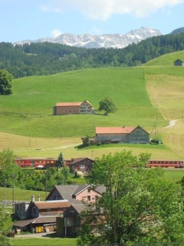 Appenzeller Bahn und im Hintergrund der Säntis