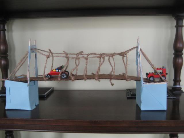 Built a suspension bridge as a homeschool history project