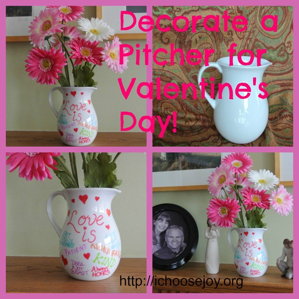 From House to Home {Link Party}:  Valentine's Pitcher