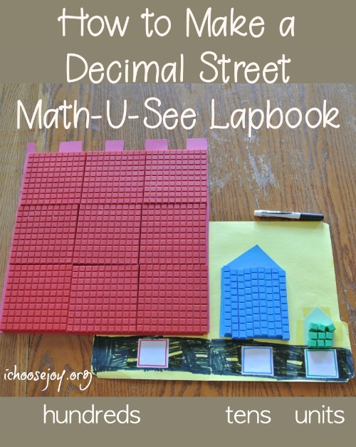 How to make a Math-U-See Decimal Street lapbook to learn hundreds, tens, and units. #math #homeschoolmath #thisisourhomeschool #mathlapbook