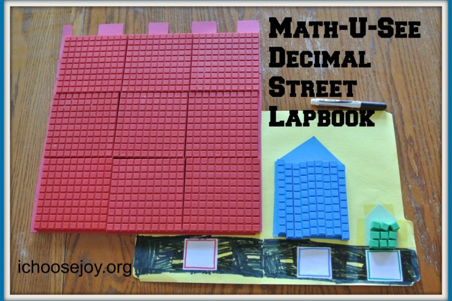 How to make a Math-U-See Decimal Street lapbook to learn hundreds, tens, and units. #math #homeschoolmath #thisisourhomeschool #mathlapbook