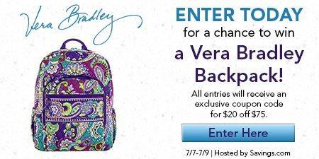 Win a Vera Bradley Backpack!