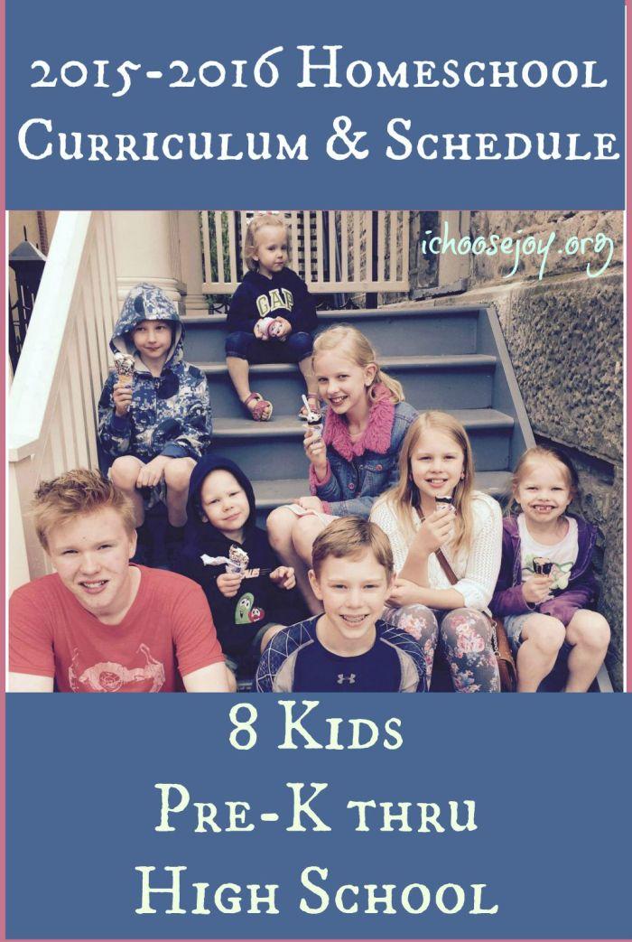 2015-16 Homeschool Curriculum & Schedule