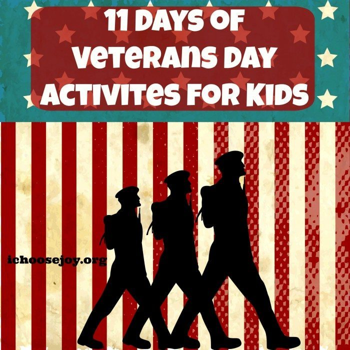 11 Days Veterans Day Activites for Kids graphic