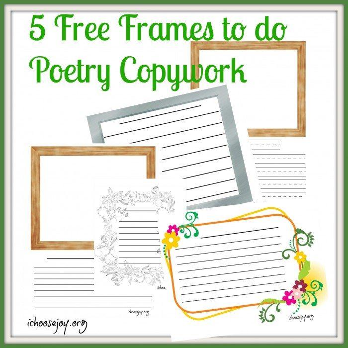 5 Free Frames to do Poetry Copywork
