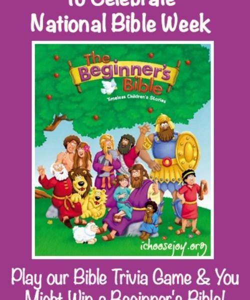 Beginner's Bible Trivia Game for National Bible Week