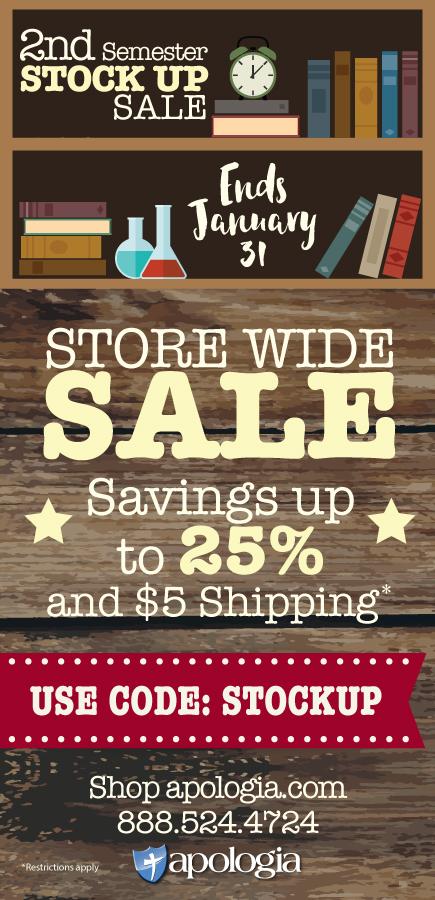 Apologia stock up sale