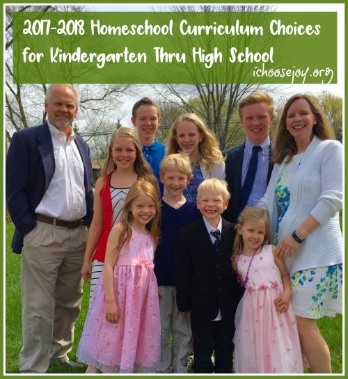 2017-2018 Homeschool Curriculum Choices for Kindergarten Thru High School. History, Math, Music, Science, Literature, Grammar, Writing, and more!