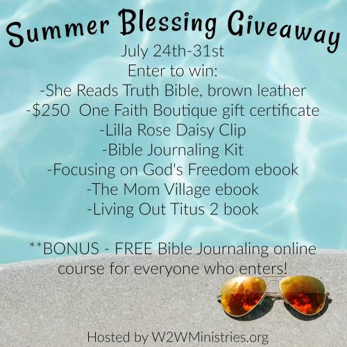Summer Blessing Giveaway with a Bible, Bible Journaling kit, ebooks, and a boutique gift certificate. Worth $475!