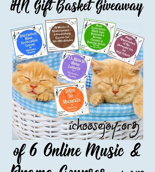 Back to Homeschool Gift Basket of 6 online courses in music and drama (Shakespeare), from Music in Our Homeschool, ends 8/13