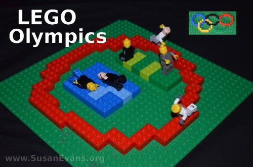 Use Lego bricks to create a fun scene depicting the Olympics. From SusanEvans.org. Homeschool fun.