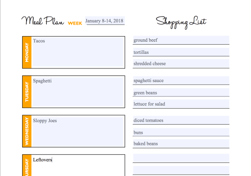 The Organized Homeschool Life Planner editable Meal-Planning page. Use this planner along with The Organized Homeschool Life book and get your homeschool organized in 15-minutes segments at a time. #organizing #organization #homeschoolmom #homeschoolorganization #ichoosejoyblog