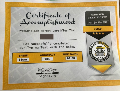TypeDojo.com Certificate of Accomplishment, a great motivator to help your students increase in typing speed and accuracy. TypeDojo is a free site!
