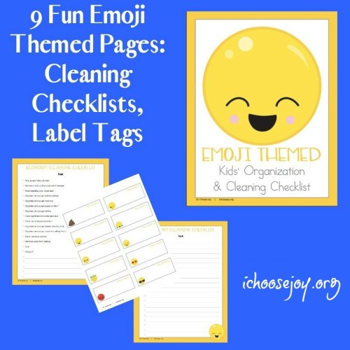 Get the 9-page printable pack of Fun Emoji-themed Chore Pages to guide your kids in cleaning their rooms, etc. Includes checklists and label tags. #chorelist #printables #homeschool #ichoosejoyblog