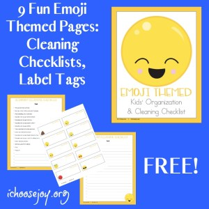 Emoji Themed Cleaning Checklists and Label Tags , 9 pages free for a limited time. From I Choose Joy!