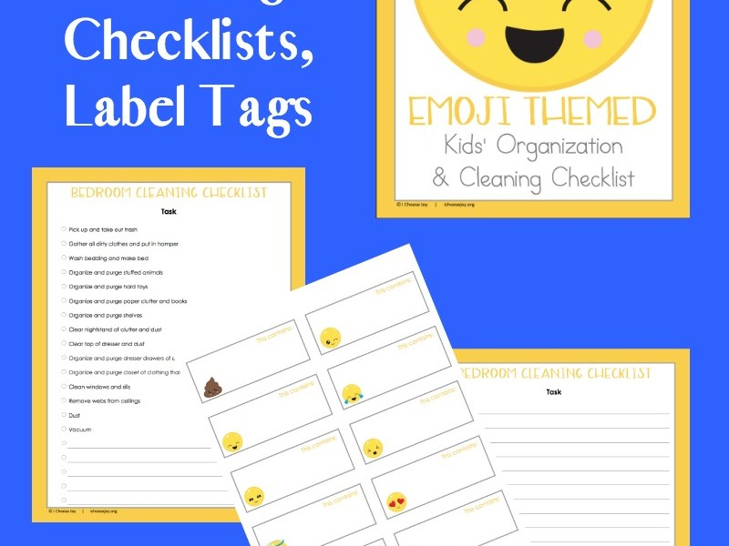 Emoji Themed Cleaning Checklists and Label Tags, 9 pages free for a limited time. From I Choose Joy!