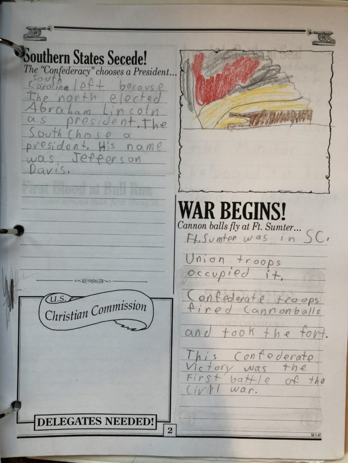 Homeschool in the Woods newspaper project for studying the Civil War
