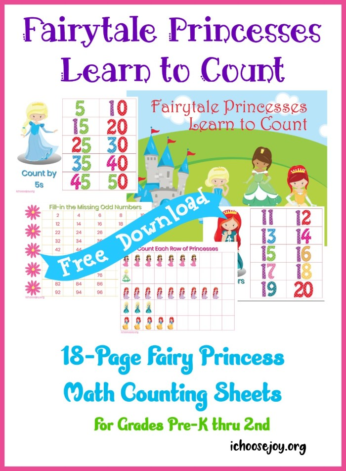 Fairy Princess Math Counting Sheets, 18-page printable pack free download for grades Pre-K thru 2nd