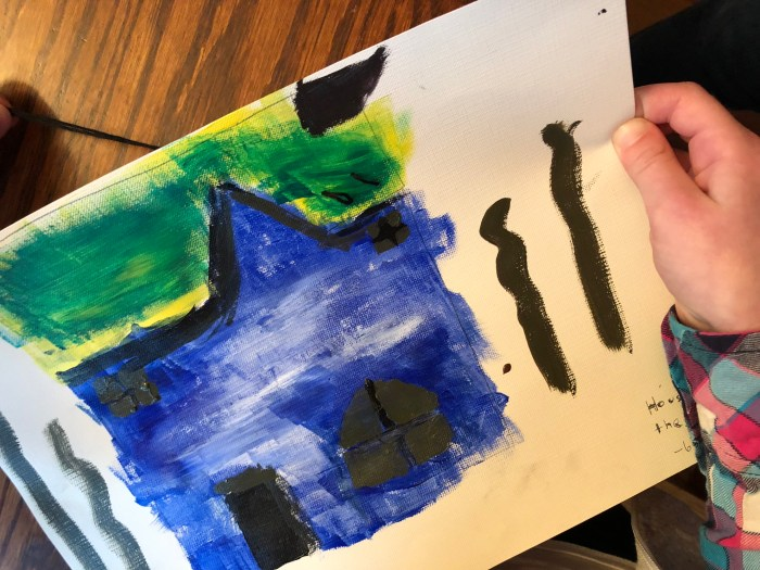 Grandma Moses Folk House Art Project from Famous Artists vol. 2 Online Unit Study course, folk art project my kids did