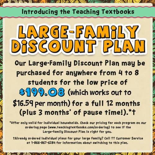 Teaching Textbooks large-family discount plan