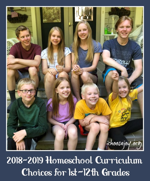2018-2019 Homeschool Curriculum Choices for 1st-12th Grades #homeschool #homeschoolcurriculum #homeschoolmath #homeschoolscience #homeschoolhighschool #ichoosejoyblog