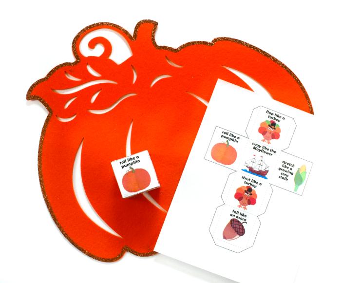 Thanksgiving Action Cube freebie printable to keep kids busy on Thanksgiving #thanksgiving #kidsactivity #freebie #printable #ichoosejoyblog