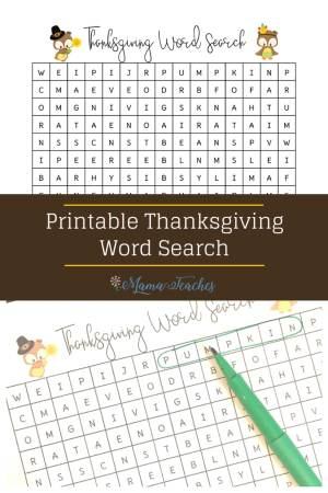Thanksgiving Word Search printable, activities for kids to do on Thanksgiving #thanksgiving #printable #freebie #kidsactivity