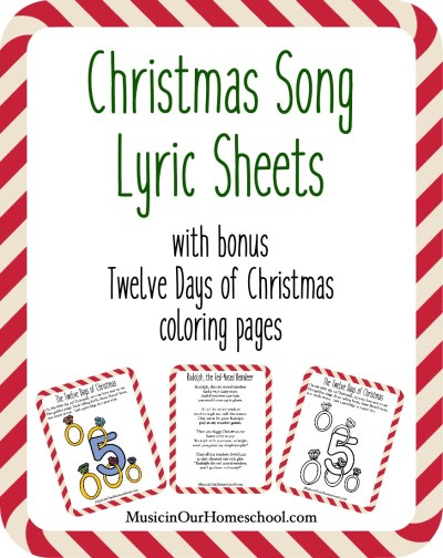 Christmas Song Lyric Sheets with bonus Twelve Days of Christmas coloring page