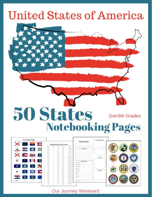 Get these great 50 States Notebooking Pages Our Journey Westward and see all the other resources in this Ultimate 50 U.S. State resource post. #50states #geography #homeschool #ichoosejoyblog