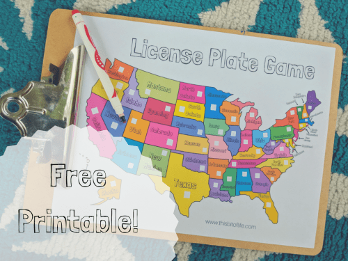 Get this free license plate printable game for your kids to use in the car. It's part of the Ultimate U.S. State Study resource post. #homeschool #geography #50states #ichoosejoyblog