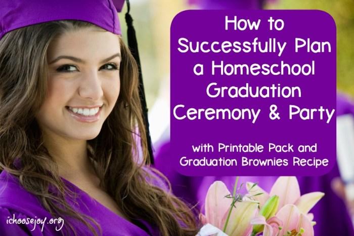 Homeschool Graduation Ceremony. Includes a printable planning pack and graduation brownie recipe #graduation #graduationparty #homeschoolgraduation #homeschoolhighschool #ichoosejoyblog