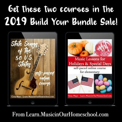 These are the two online music courses in the 2019 Build Your Bundle sale: State Songs of the 50 U.S. States and Music Lessons for Holidays & Special Days